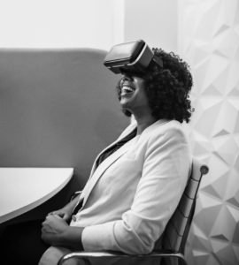 Woman in VR Exercise -- She's enjoying herself.