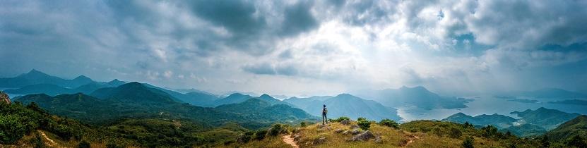 Panorama of Man hiking in mountain, Autumn, Sai Kung